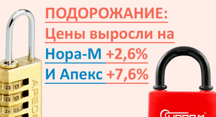 Подорожание: Нора-М на +2,6% и Апекс на +7,6%