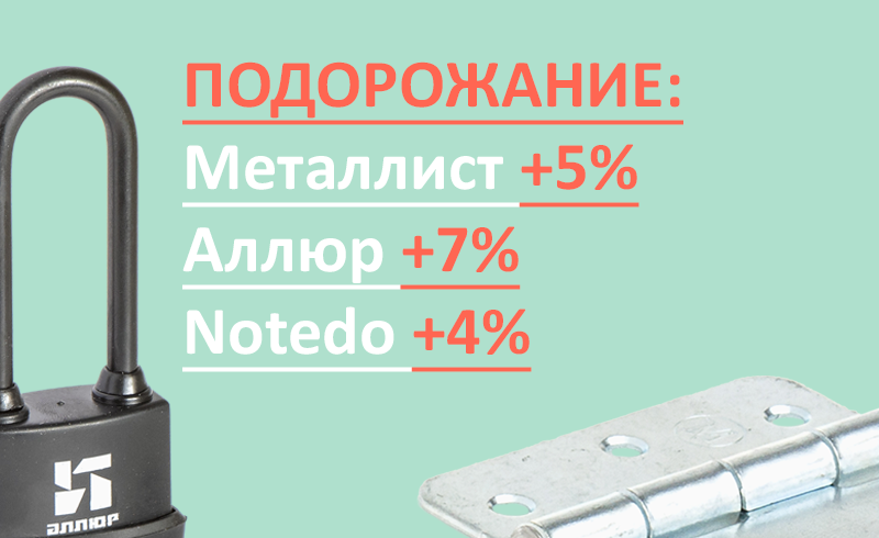 Подорожание: Металлист +5%, Аллюр +7%, Notedo +4%
