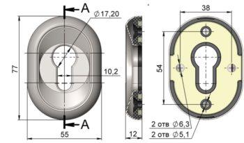 Ключевина Кл-12-Хп (2 шт.) (хром)