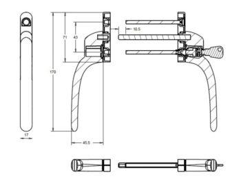 Ручка двухсторонняя узкая/обычная - прямая