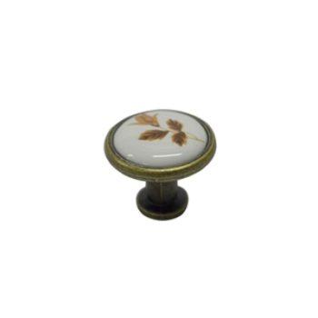 Ручка мебельная, кнопка GP19AB/16 (керамика/ст.бронза) - 113771
