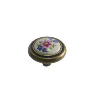 Ручка мебельная, кнопка RC052AB/01 (керамика/ст.бронза) - 113776