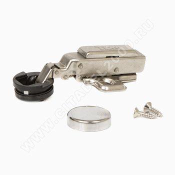 Минипетля накладная для стекла 95* clip on с доводчиком и заглушкой