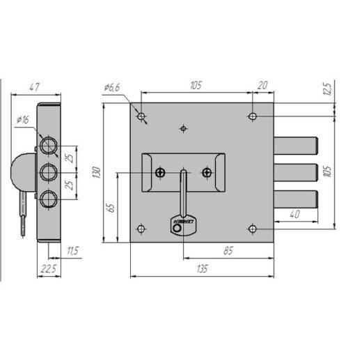 CERBER Замок накладной ЗНУ-П С1-П 114 (полный комплект)