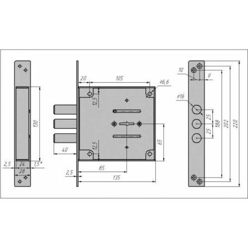 CERBER Замок врезной ЗВУ С1-В 116 (длинный ключ, полный комплект)